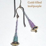 Gold-filled Earrings, teal/purple
