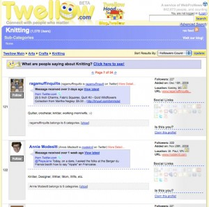 Twellow search on knitters