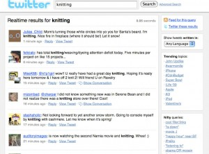 knitting as a search term on Twitter Search