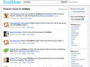 knitting as search term on Twitter Search